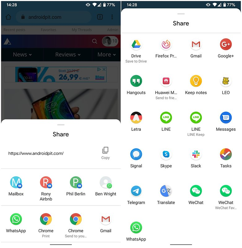 Freigabemenü Android 10