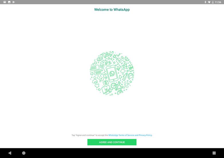 Verwenden Sie WhatsApp auf Tablet akzeptieren Bedingungen