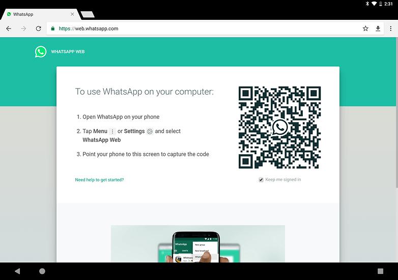 use whatsapp on tablet whatsappweb