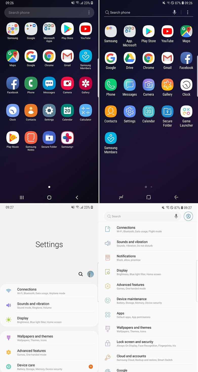 Samsung One UI confronto 2