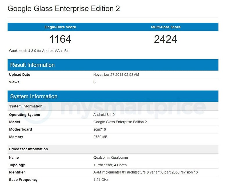 google glass enterprise edition 2 geekbench