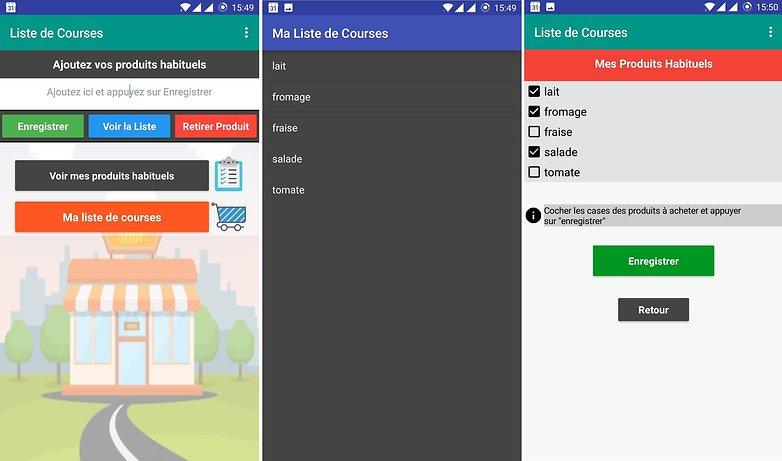 liste de courses android app