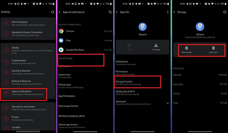 how to solve buggy android apps delete cache