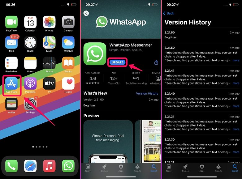 how to check whatsapp updates iOS
