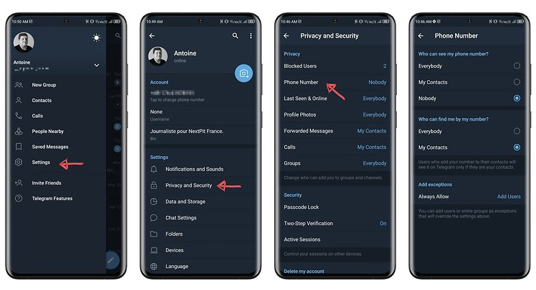 how to hide phone number telegram ENG