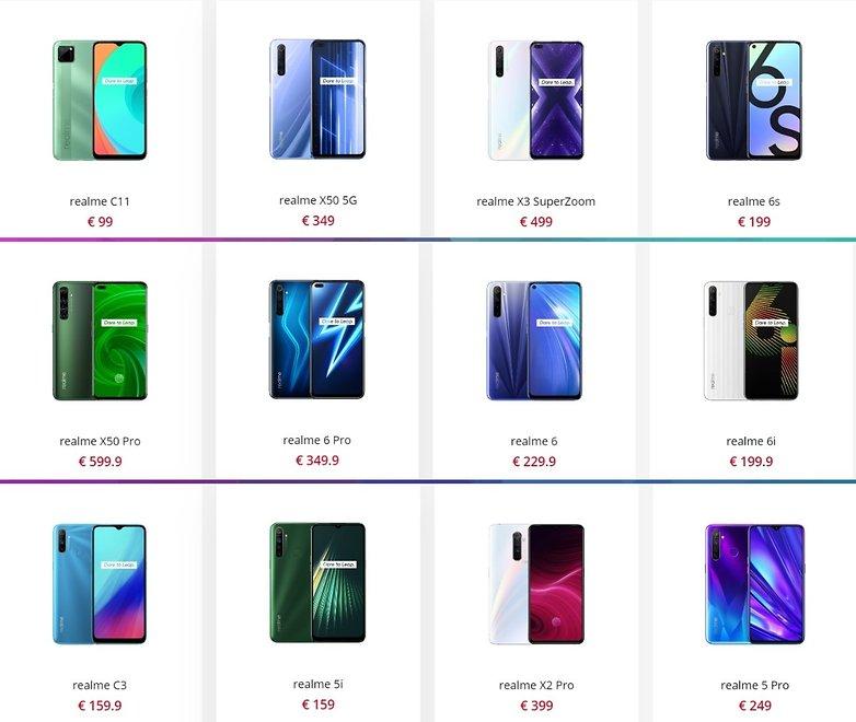 realme smartphone catalog eu 2020