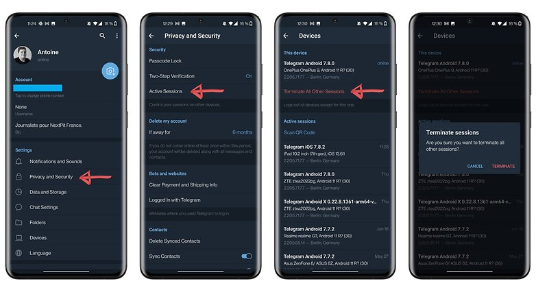 telegram how to terminate active sessions