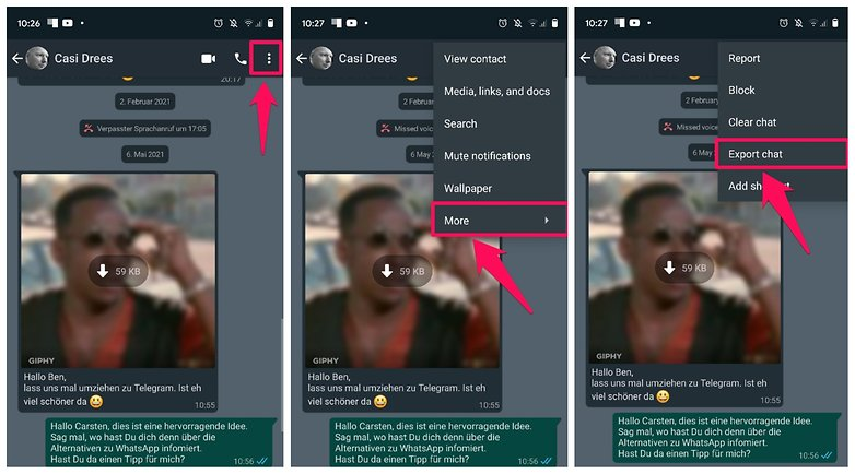Export WhatsApp Chats to Chat DE 01 NextPit