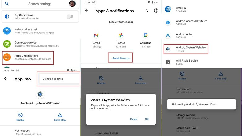 Uninstall Android System WebView 1