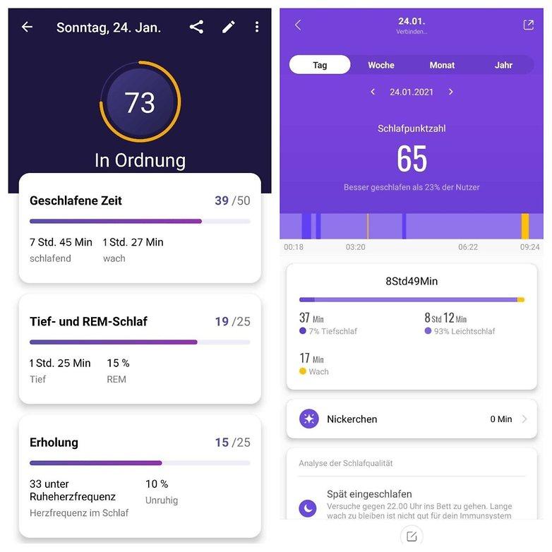 FitBit vs Xiaomi Schlafen