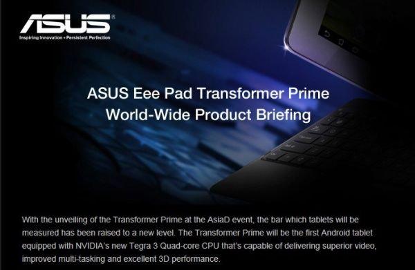 Asus Eee Pad Transformer Prime Event