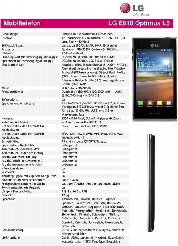 LG Optimus 5 Specs