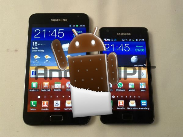 Galaxy Note and S2 Ice Cream Sandwich
