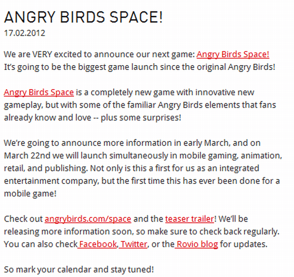 Angry Birds Press Release