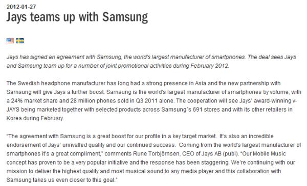 Jays Samsung Kooperation