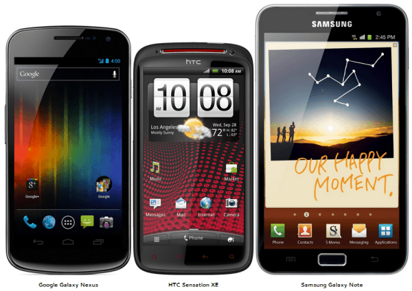 Note, Galaxy Nexus and Sensation XE