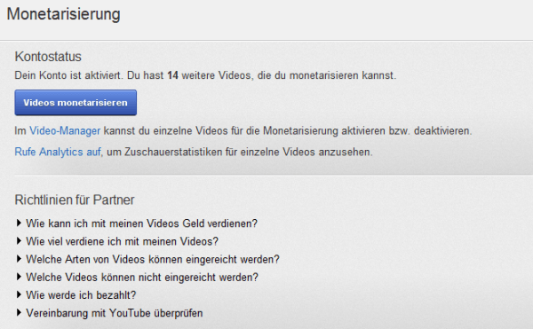 YouTube Partnerprogramm