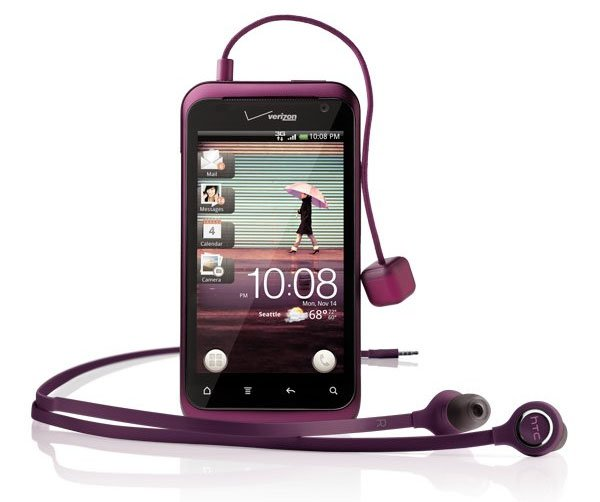 Close Up HTC Rhyme with headphones and user interface